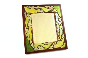Marla Carr, Small Green Stained Glass Frame w Mirror