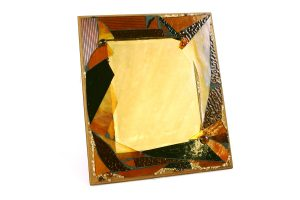 Marla Carr, Small Amber Stained Glass Frame w Mirror