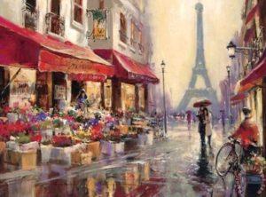 Eiffel Tower street scene